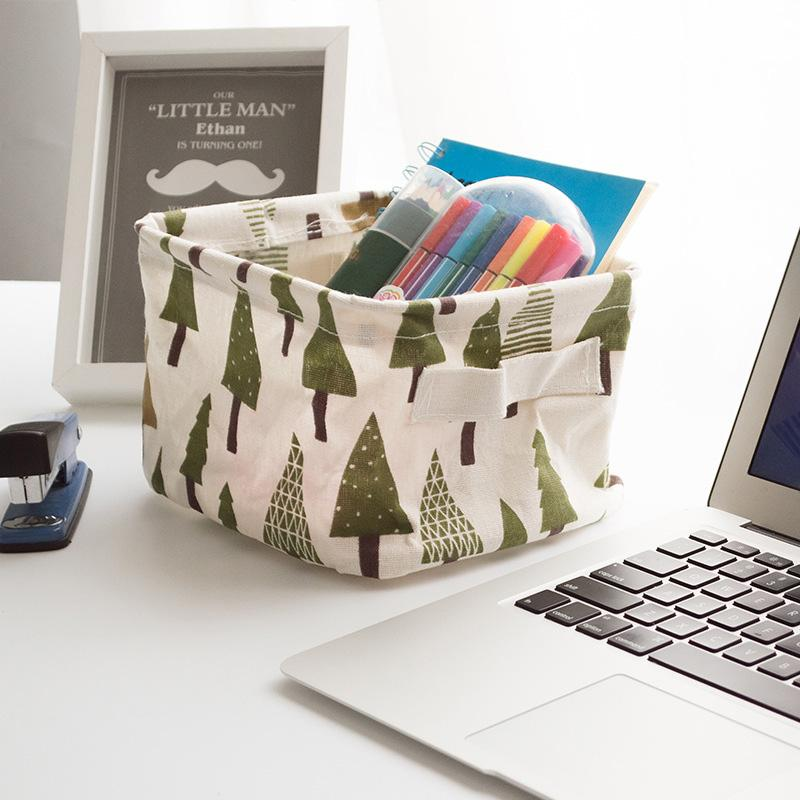 Folding Cotton Fabric Storage Basket