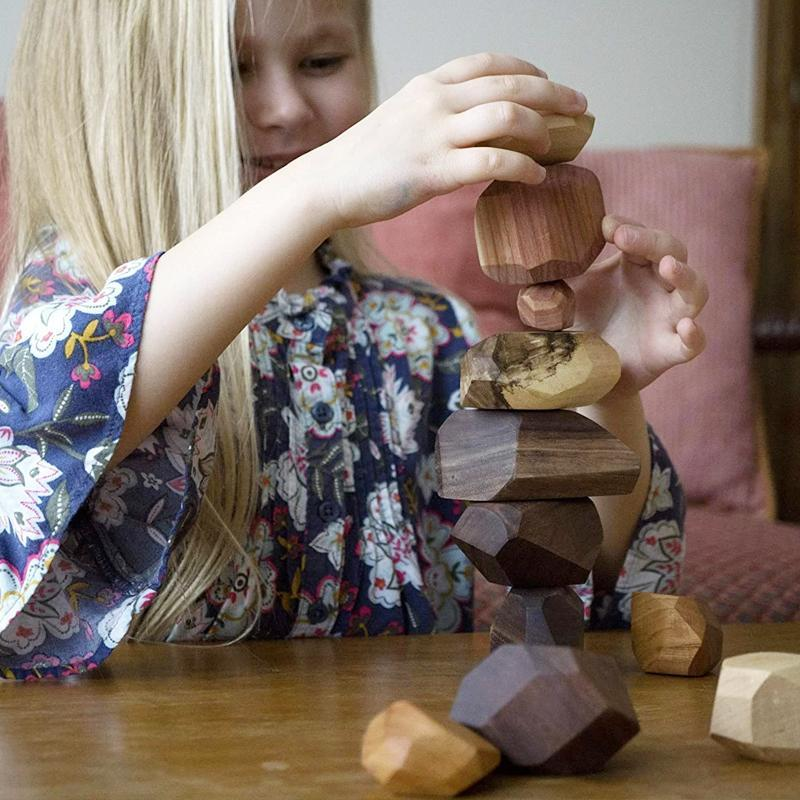 Wood Rock Set Balancing Blocks Toy