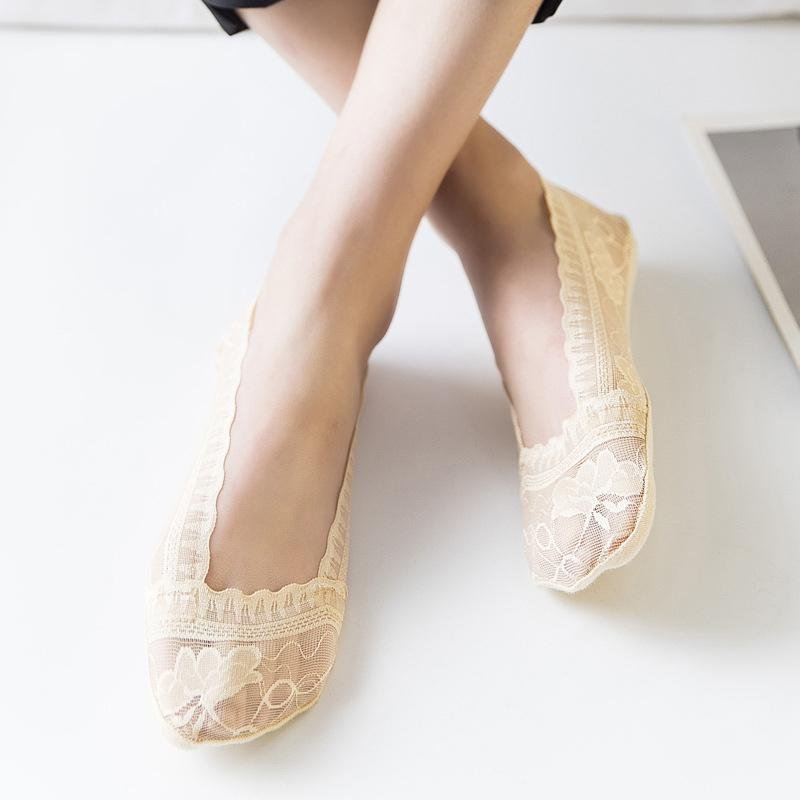 Women's Lace Low Cut Non Slip Socks