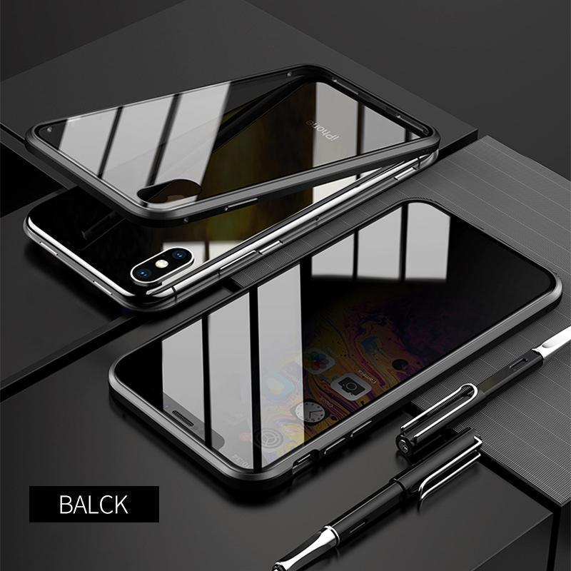 Upgraded Anti-peep Two Side Tempered Glass Magnetic  iPhone Case