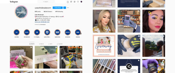 Usa Wholesale Cosmetics, Beauty, and Health Product Instagram Page