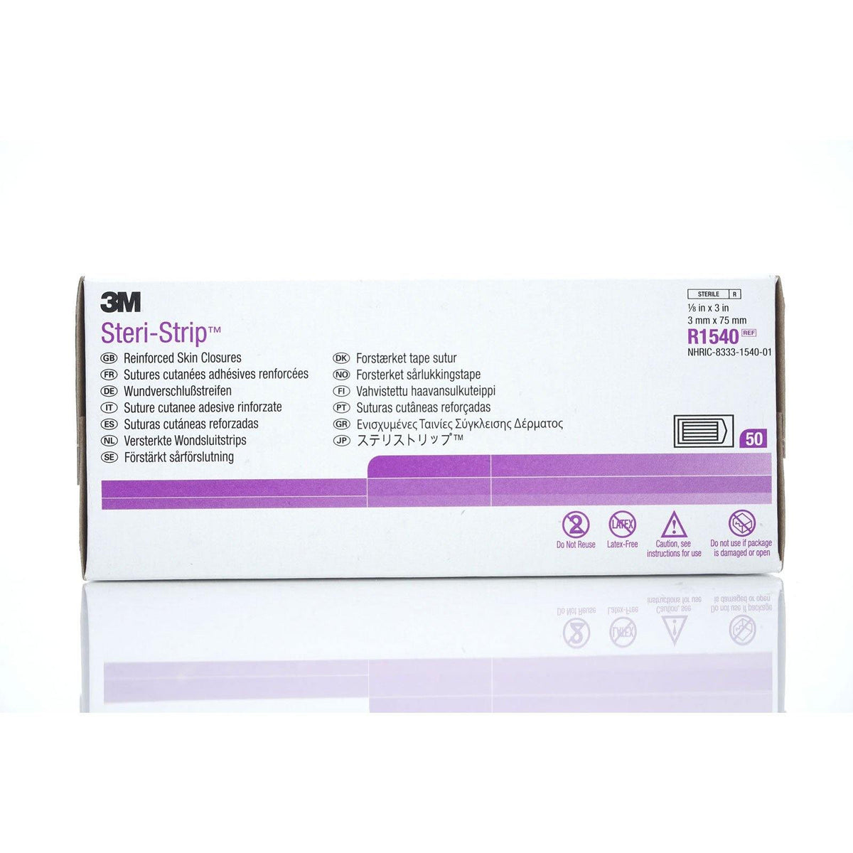3M Steri-Strip Reinforced Adhesive Skin Closures, 1/8 '' x 3 '' (4/cs)