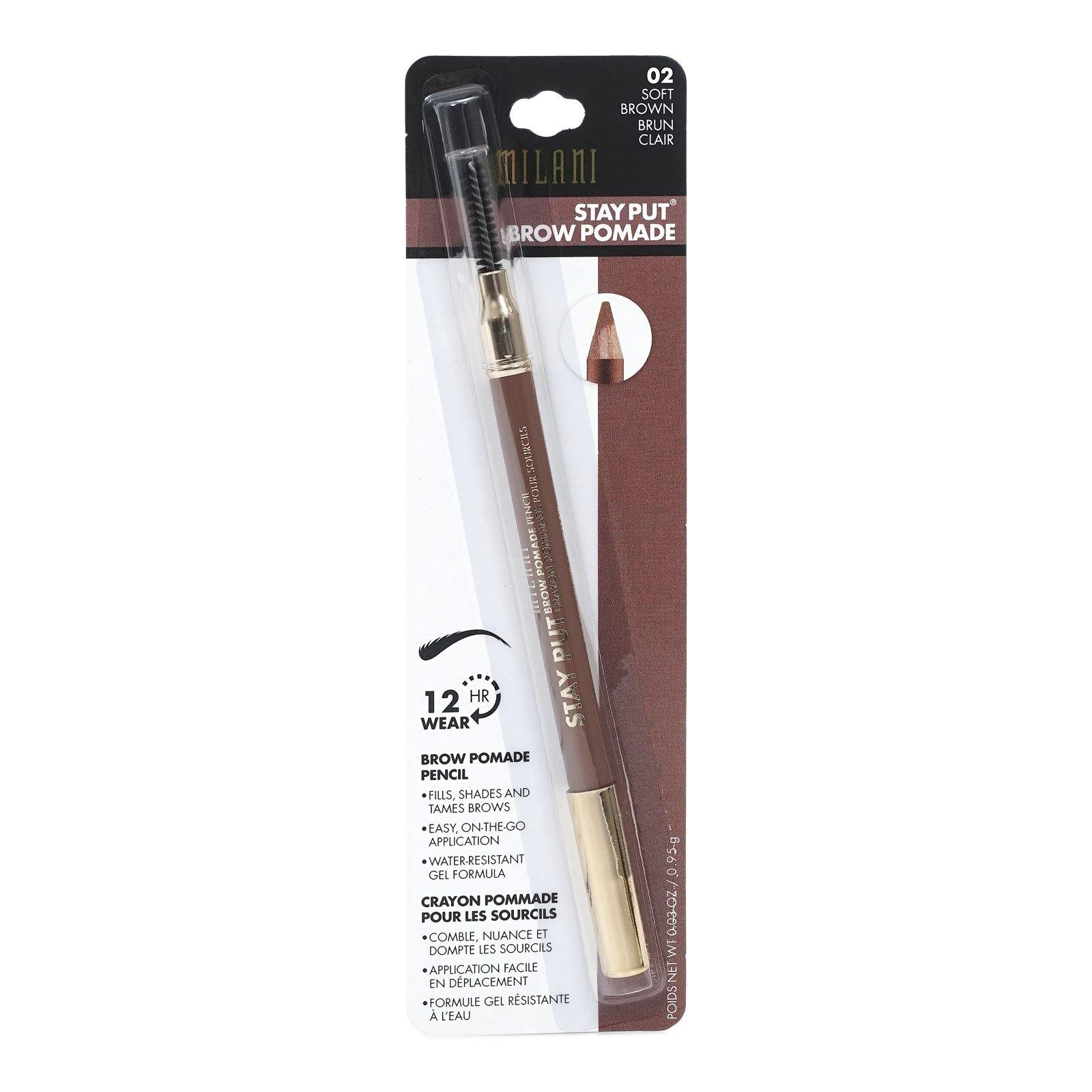 MILANI STAY PUT BROW POMADE PENCIL - SOFT BROWN (24/cs)
