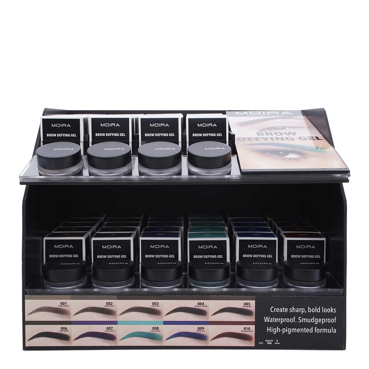 MOIRA COSMETICS BROW DEFYING GEL, DISPLAY OF 60, 1 DISPLAY PER CASE, BDG SET (1/cs)
