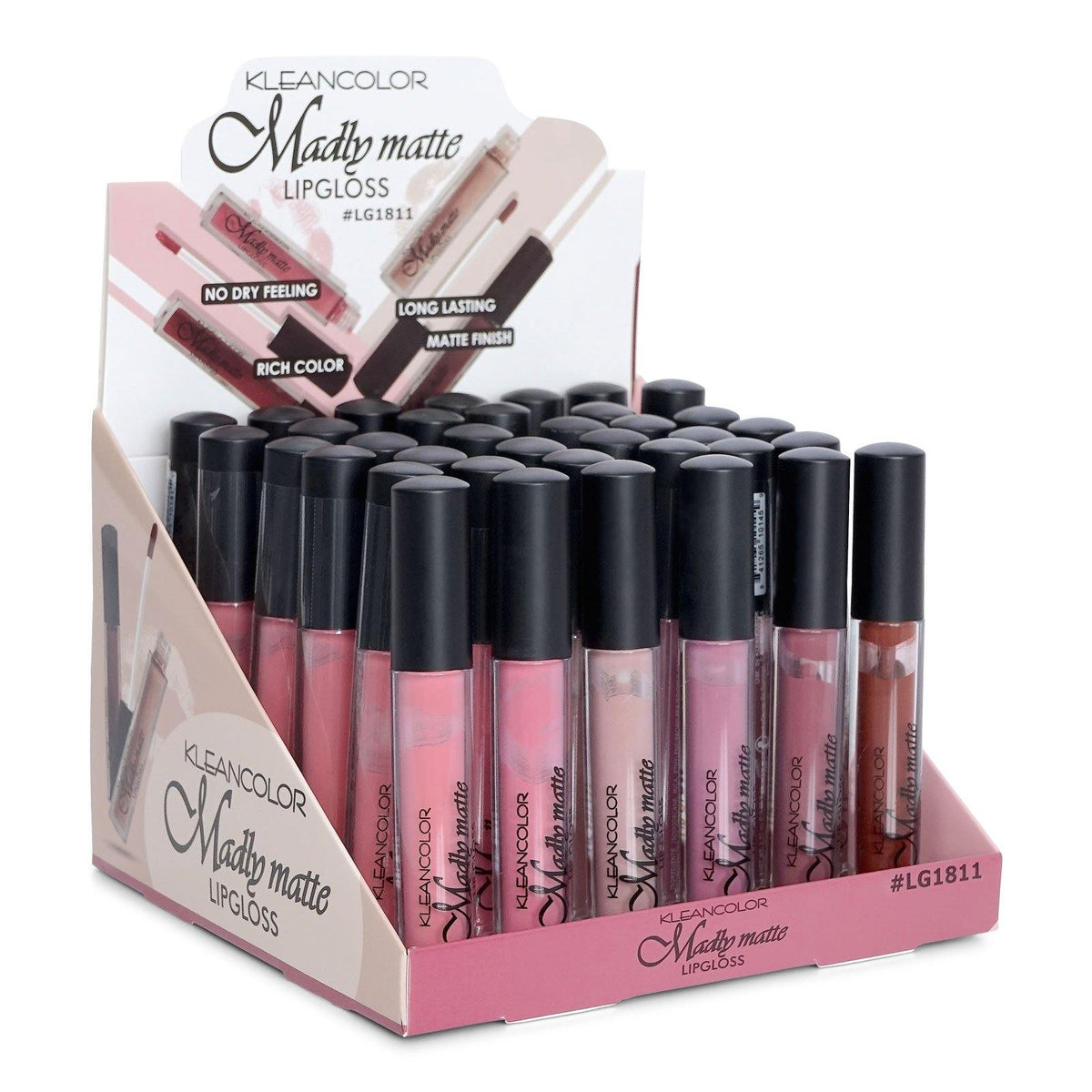 KLEANCOLOR Madly Matte Lip Gloss-6 nude-mauve color assorted {#1600-1605) (LG1811) (36/cs)