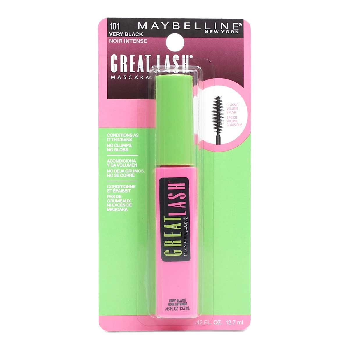 Maybelline Great Lash Washable Mascara, Very Black - Display of 24 units