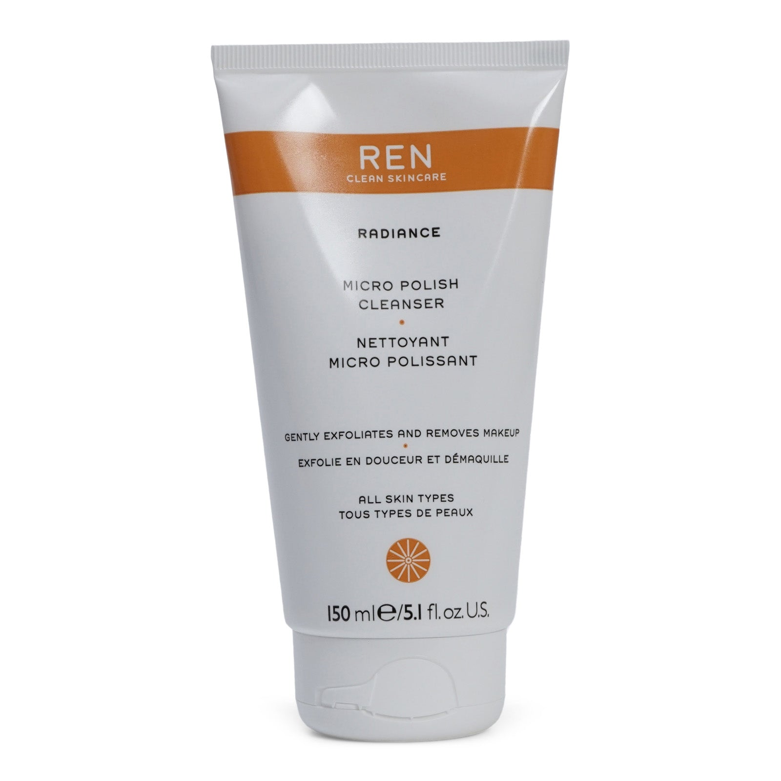 REN Skincare Radiance Micro Polish Cleanser- 2 in 1 chemical and physical exfoliating cleanser (150 ml / 5.1. fl. Oz.) (3/cs)