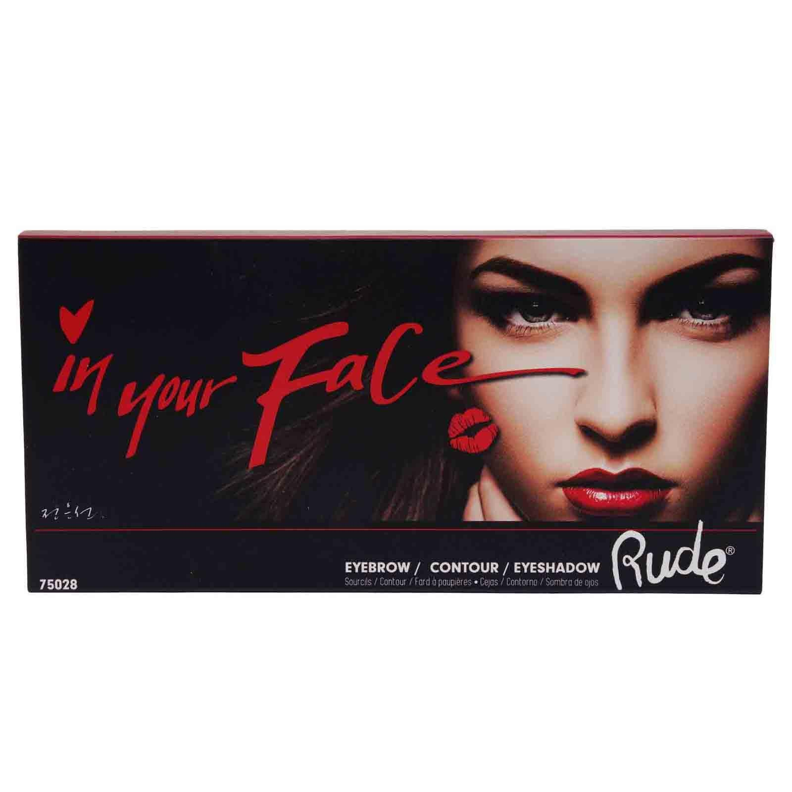 RUDE COSMETICS | In Your Face Face Palette w/ 3 Brow Powder, 4 Contour, &9 Eyeshadow Shades ((12/cs)