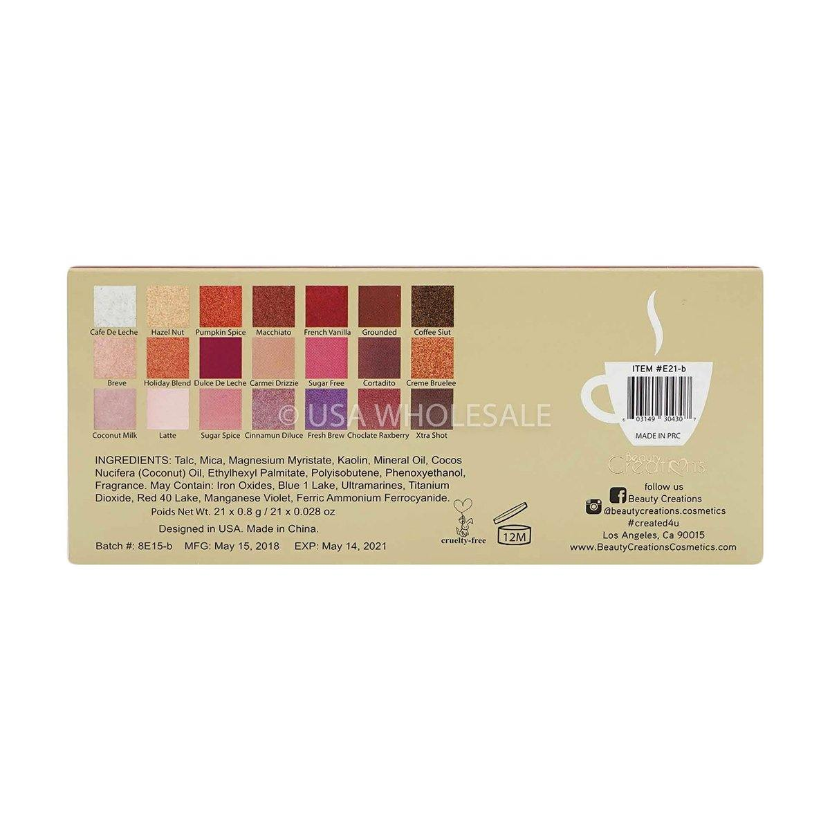 BEAUTY CREATIONS | Espresso Yourself Latte Eyeshadow Palette (21 Colors X Case of 12)