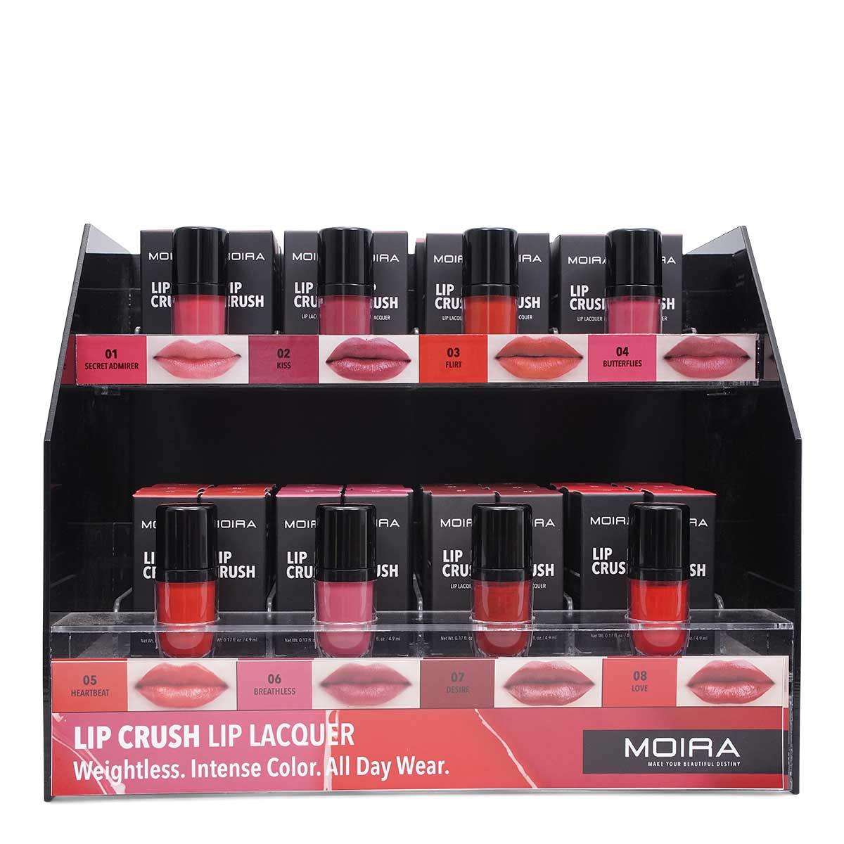 MOIRA COSMETICS LIP CRUSH LIP LACQUER, DISPLAY OF 48, 1 DISPLAY PER CASE, LCQ SET (1/cs)
