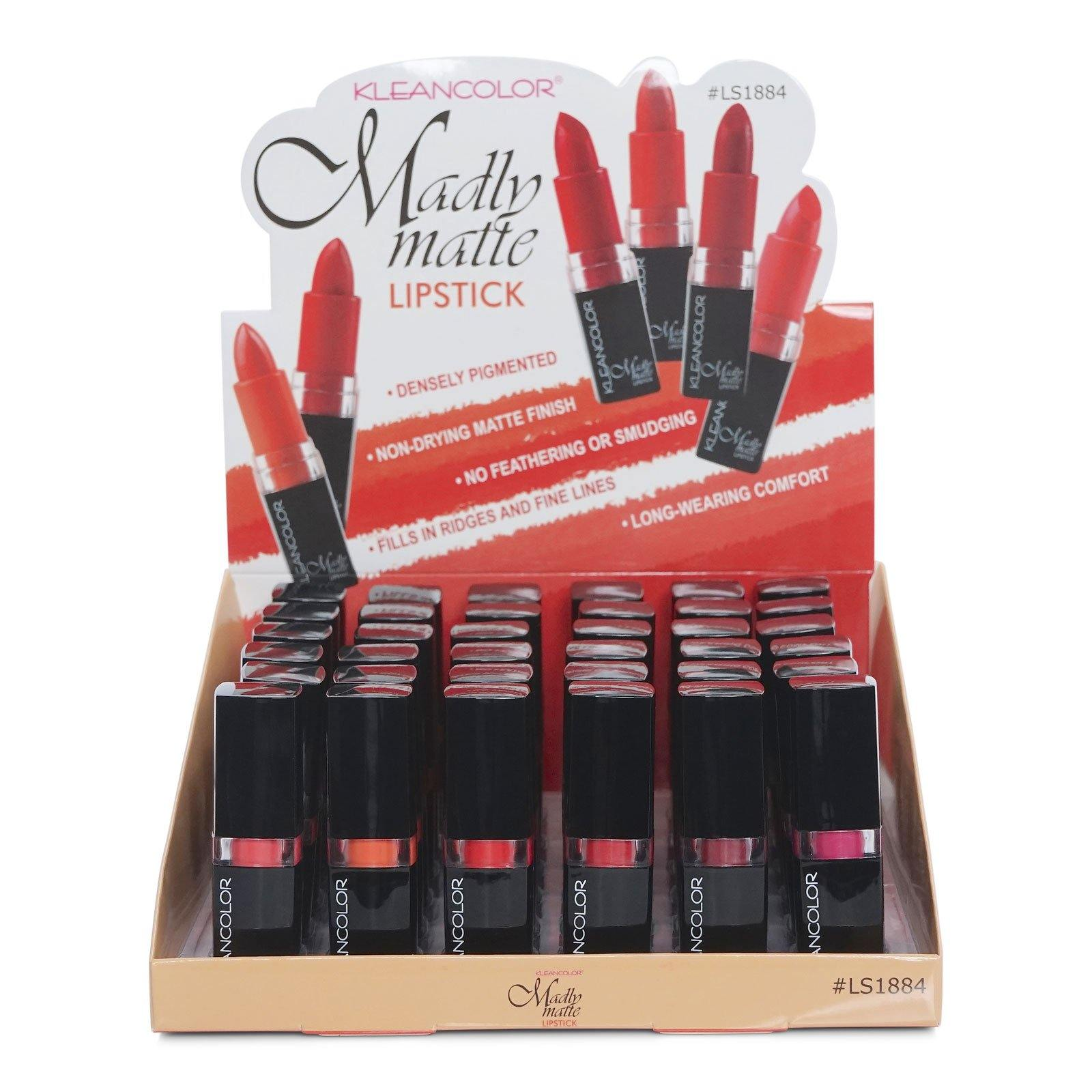 KLEANCOLOR Madly Matte Lipstick-color rich matte lipstick, 6 color assorted {#2291-2296) (LS1884) (36/cs)