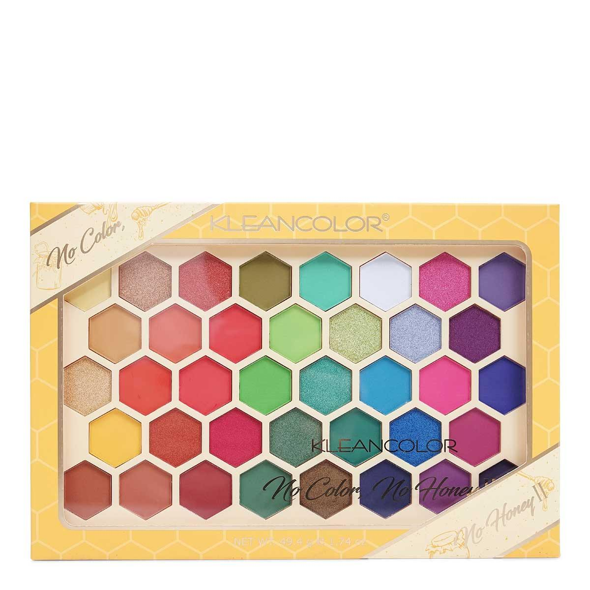 KLEANCOLOR No Color No Honey, 38 color Pressed Pigment Palette (ES1218) - Display of 6 units