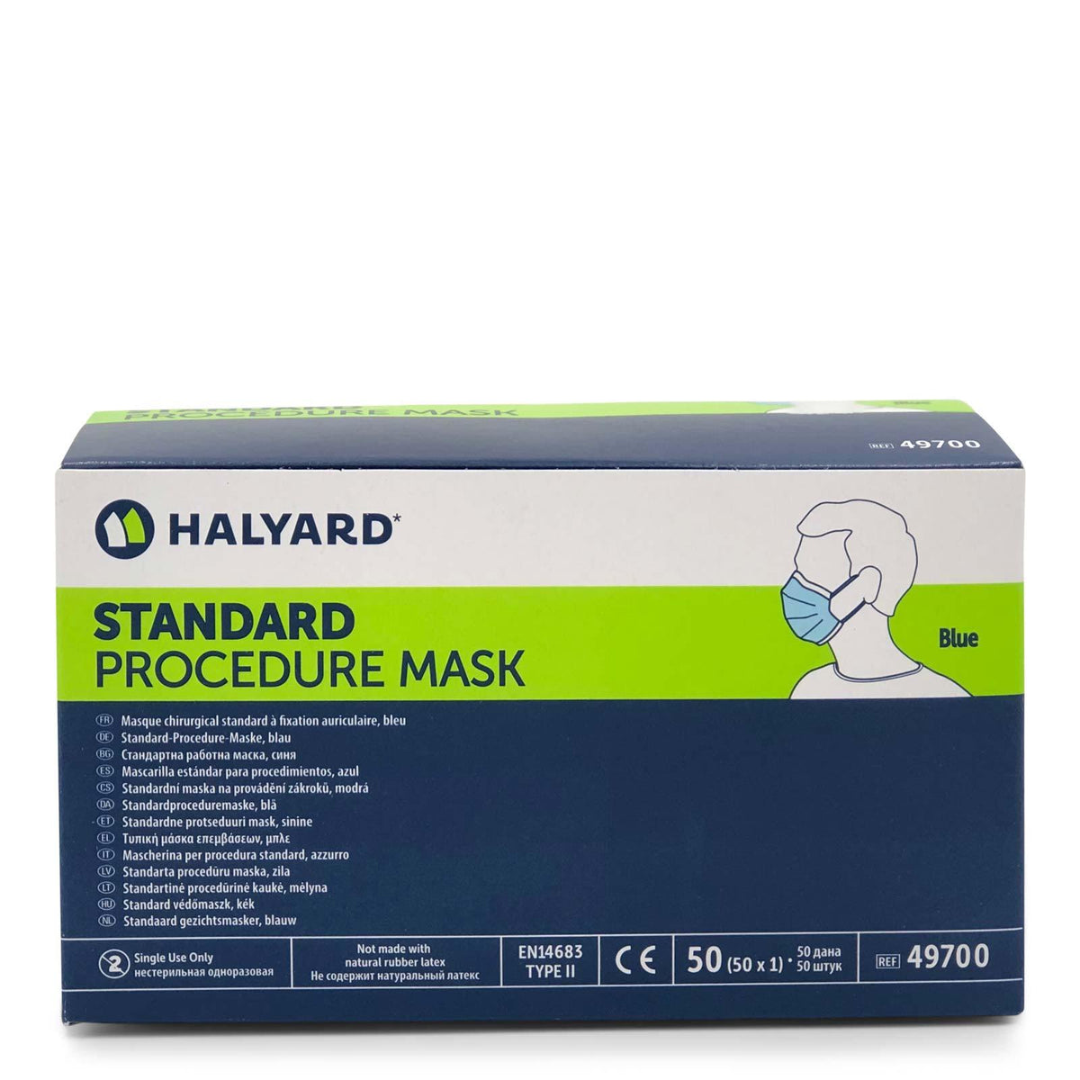 Halyard Health Procedure Mask with Earloops, Blue, 49700, box of 50