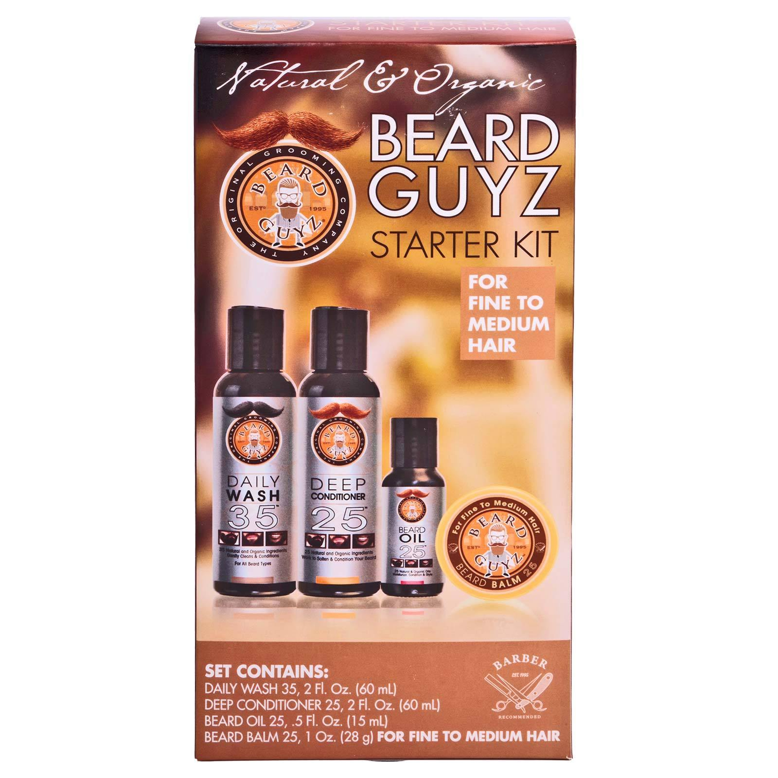 BEARD GUYZ STARTER SET FINE/MED, Wash, Conditioner, Oil, Balm  (12/cs)