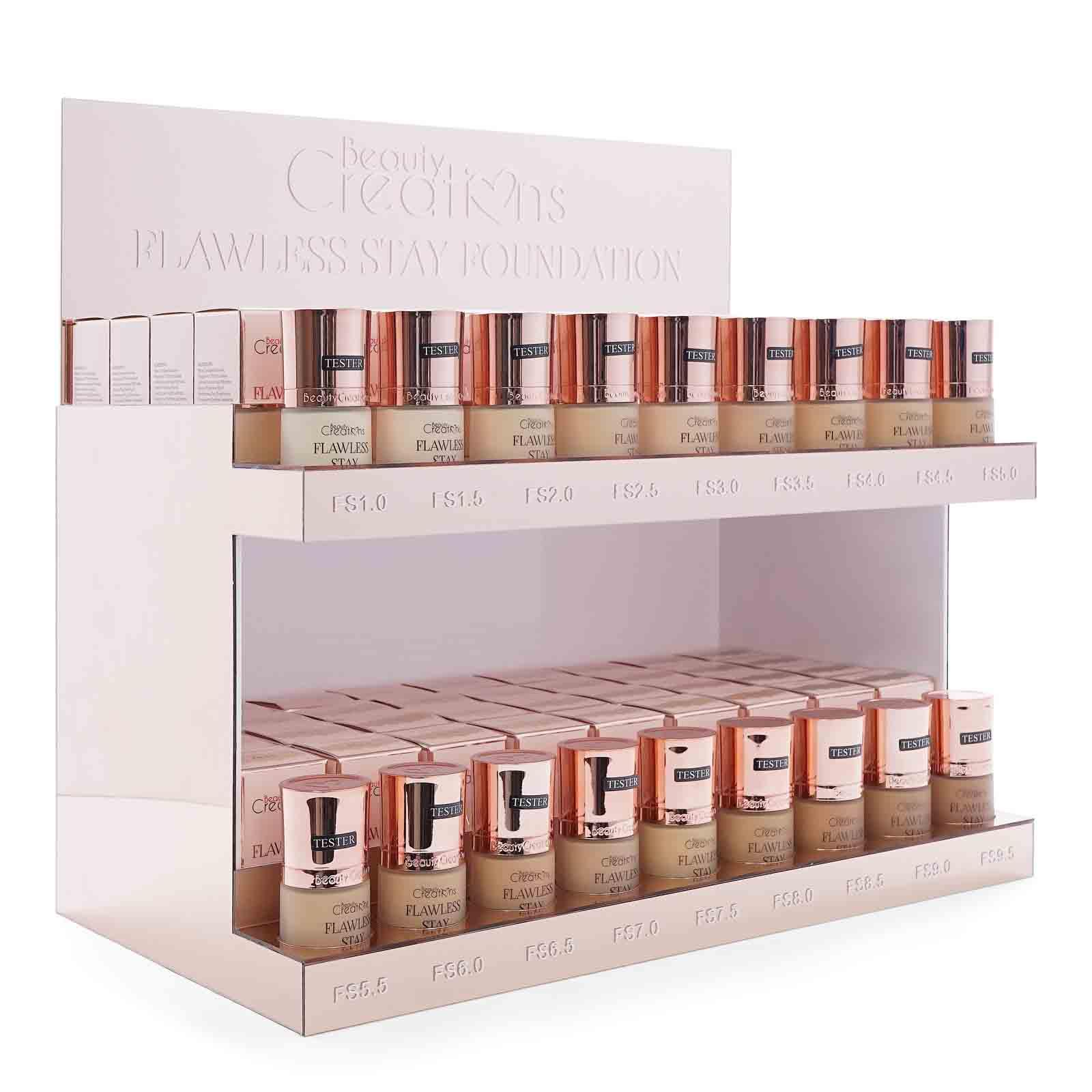 BEAUTY CREATIONS | Flawless Foundation Display (18 colors X 7 ea.) Case of 126