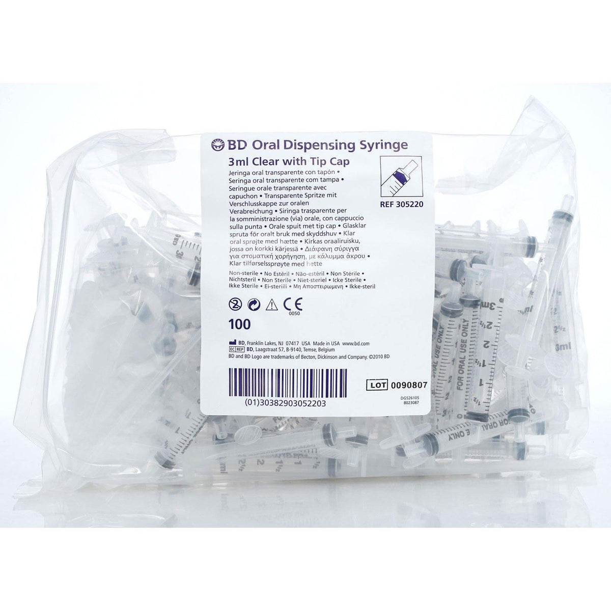 BD Oral Dispensing Syringe 3 ml Clear with Tip Cap (305220) (5/cs)
