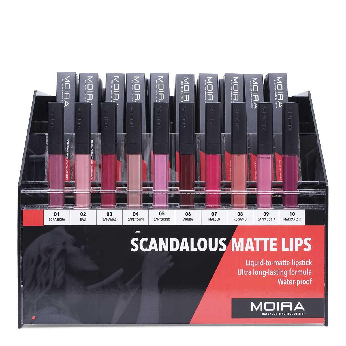 MOIRA COSMETICS SCANDALOUS MATTE LIPS, DISPLAY OF 120, 1 DISPLAY PER CASE, SML SET (1/cs)