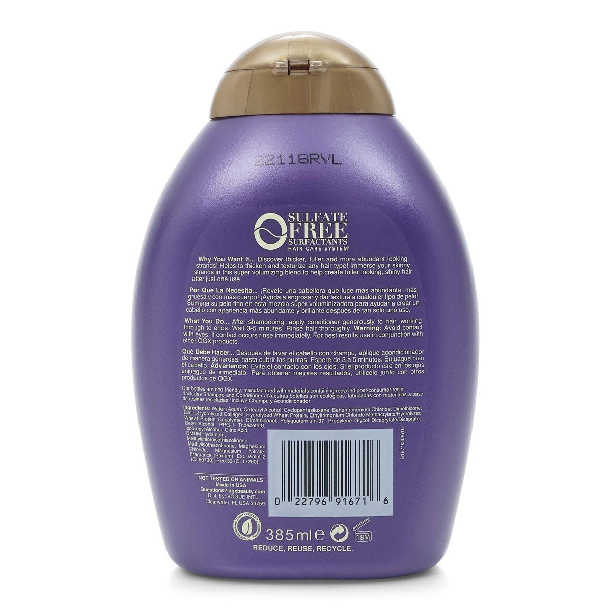 ORGANIX THICK & FULL BIOTIN & COLLAGEN CONDITIONER 13 OZ (12/cs)