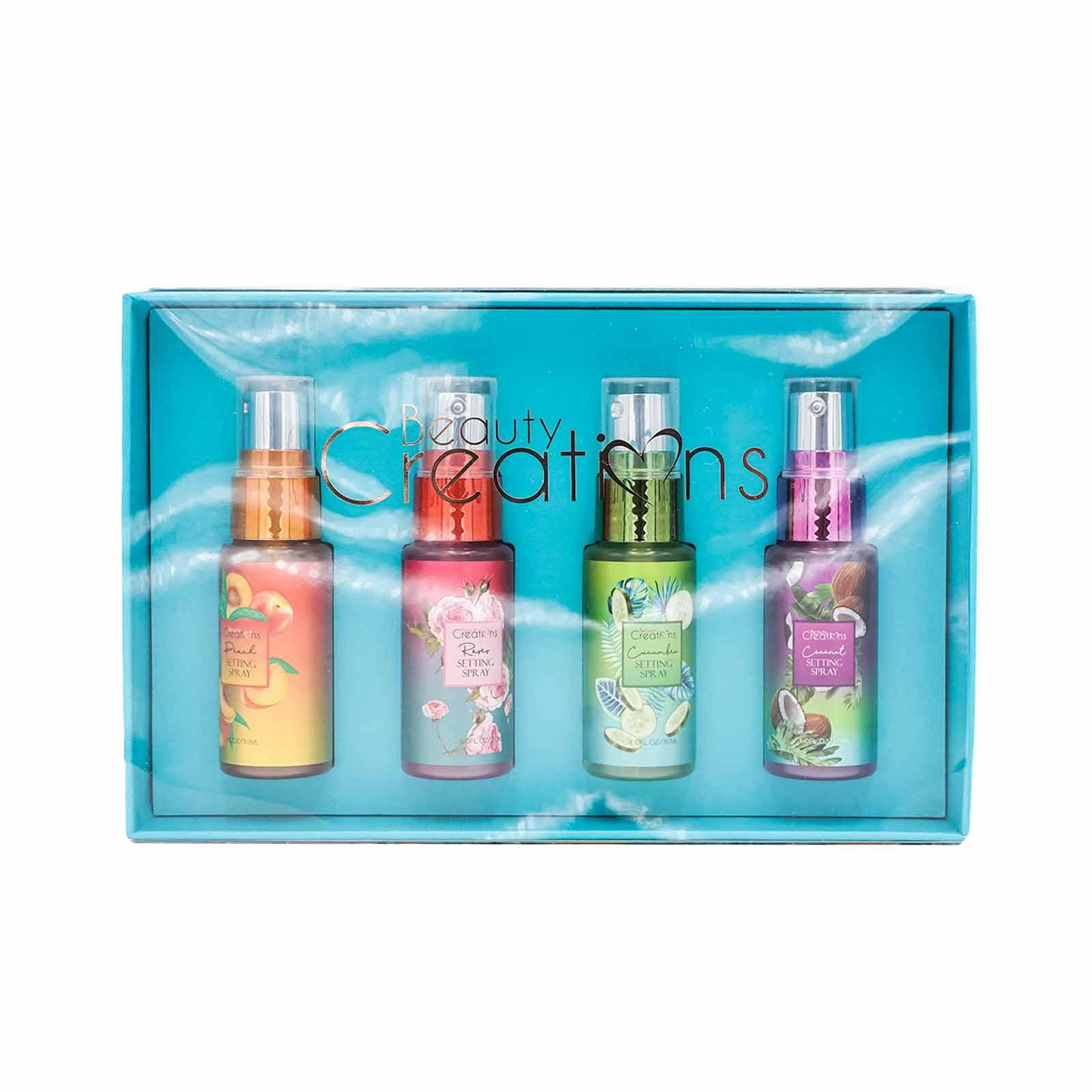 BEAUTY CREATIONS HOLIDAY SET SETTING SPRAY 1- PEACH, ROSE, CUCUMBER, COCONUT- SPS MINI 1 (6/cs)