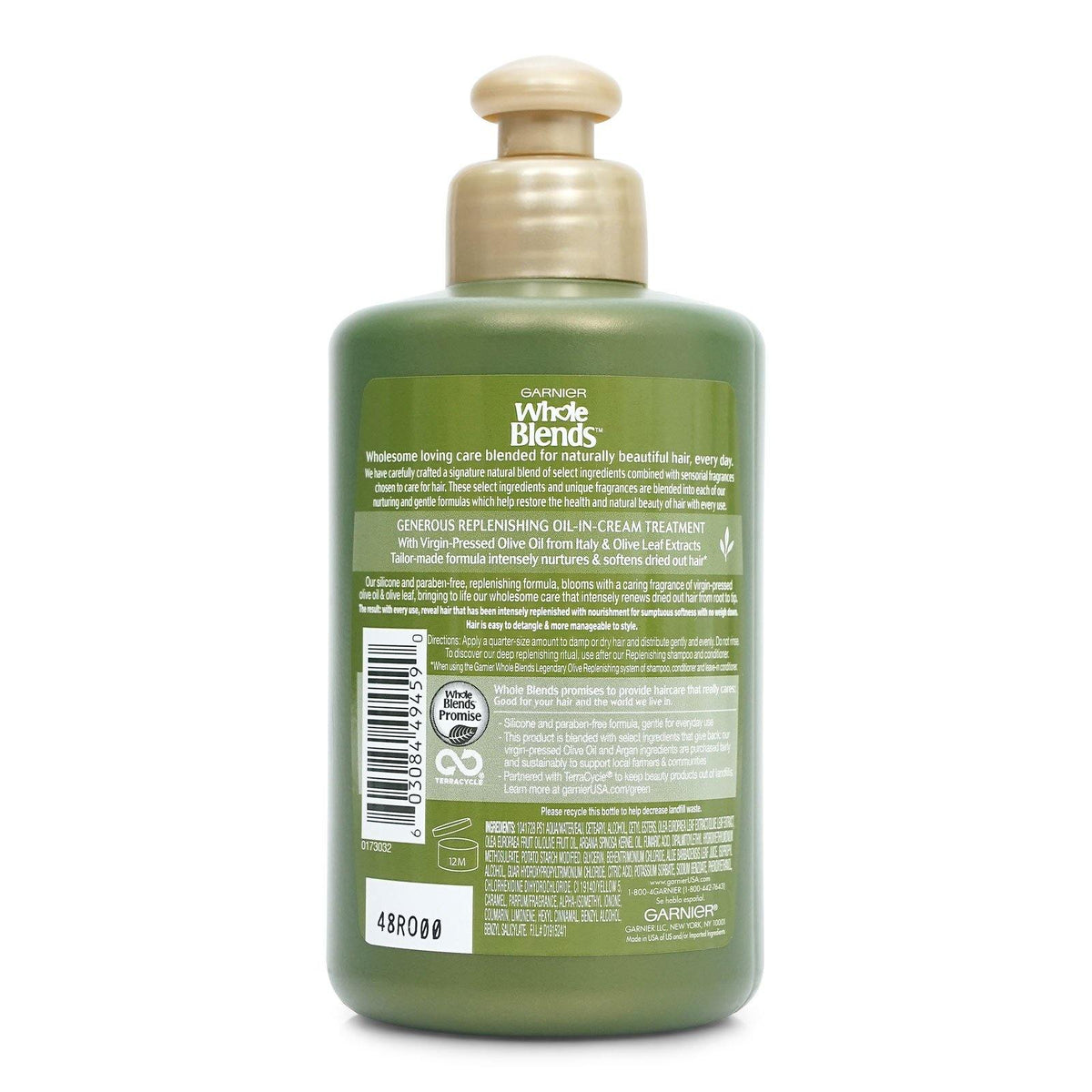 GARNIER WHOLE BLENDS OLIVE LEAVE IN CONDITIONER 10.1 OZ (12/cs)