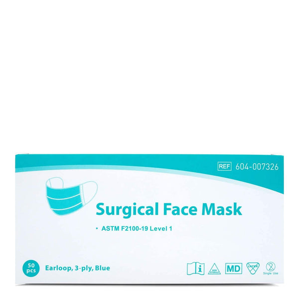 Winner Medical Surgical Face Mask, Earloop 3-ply, Blue, Box of 50