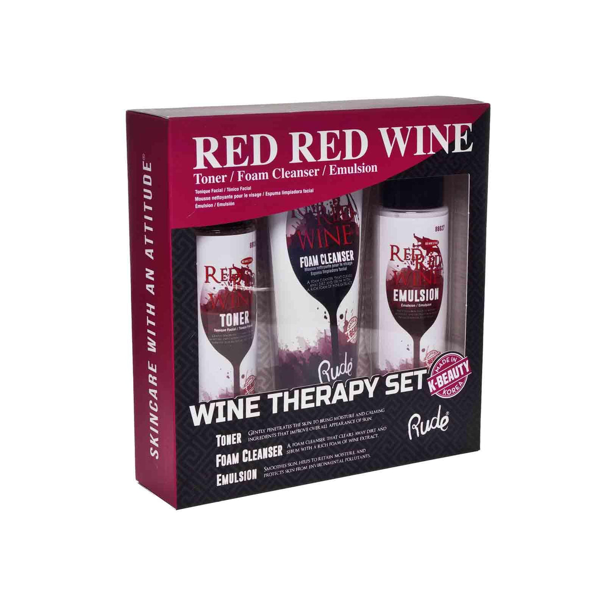 RUDE Cosmetics Red Wine Therapy Set Toner, Foam Cleanser,  Emulsion