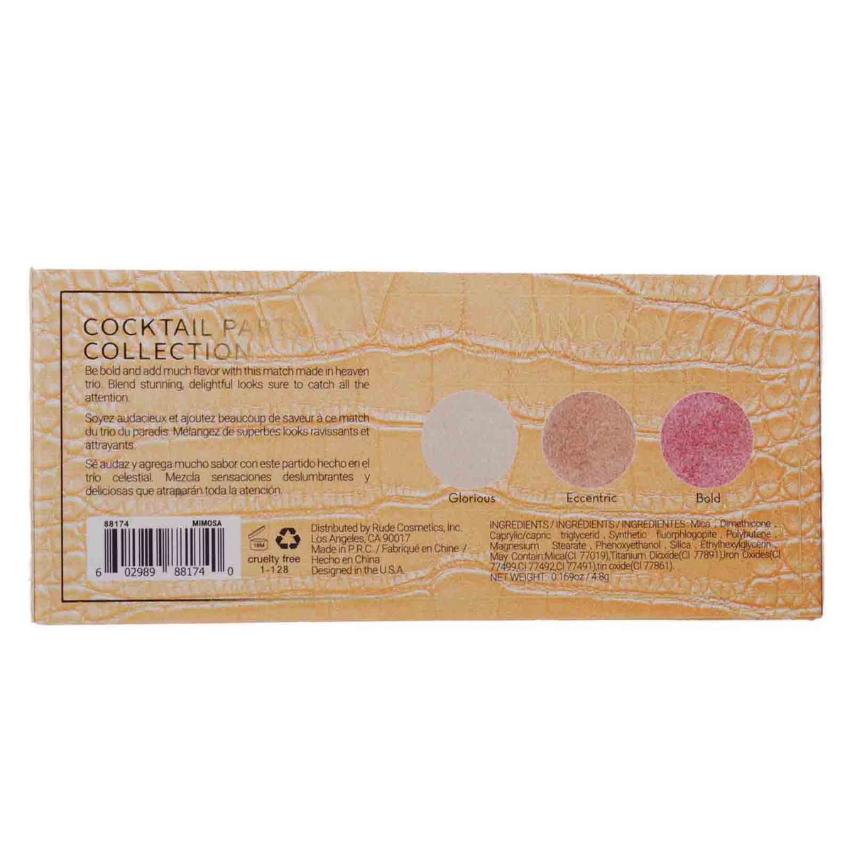RUDE COSMETICS | Mimosa Luminous Eyeshadow Palette w/ 3 Shades (12/cs)