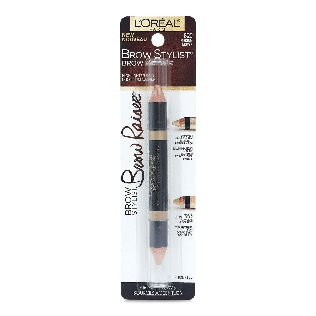 LOREAL BROW STYLIST RAISER HIGHLIGHTER DUO - MEDIUM # 620 (24/cs)
