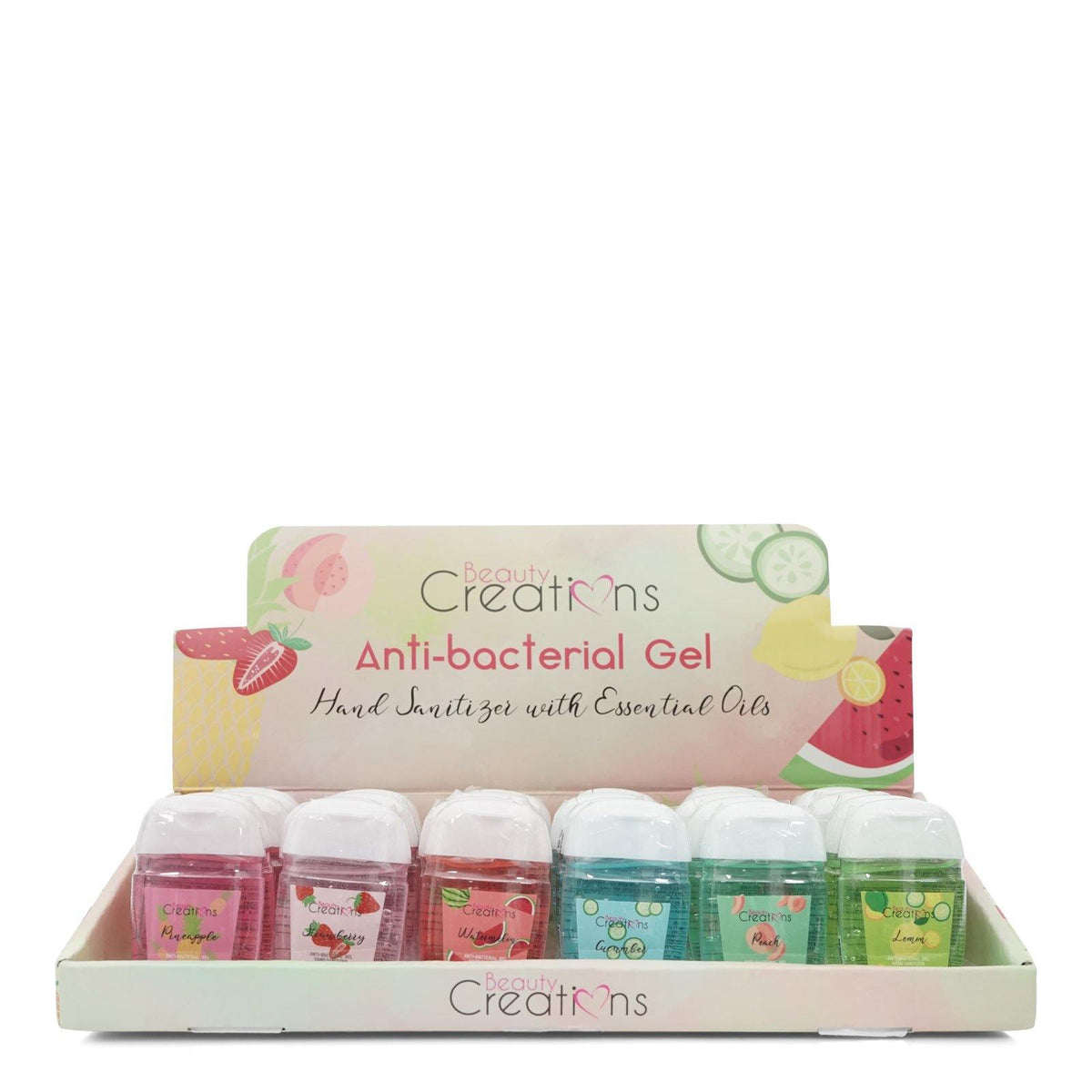Beauty Creations Assorted Anti-bacterial Gel Display, 24 count (24/cs)