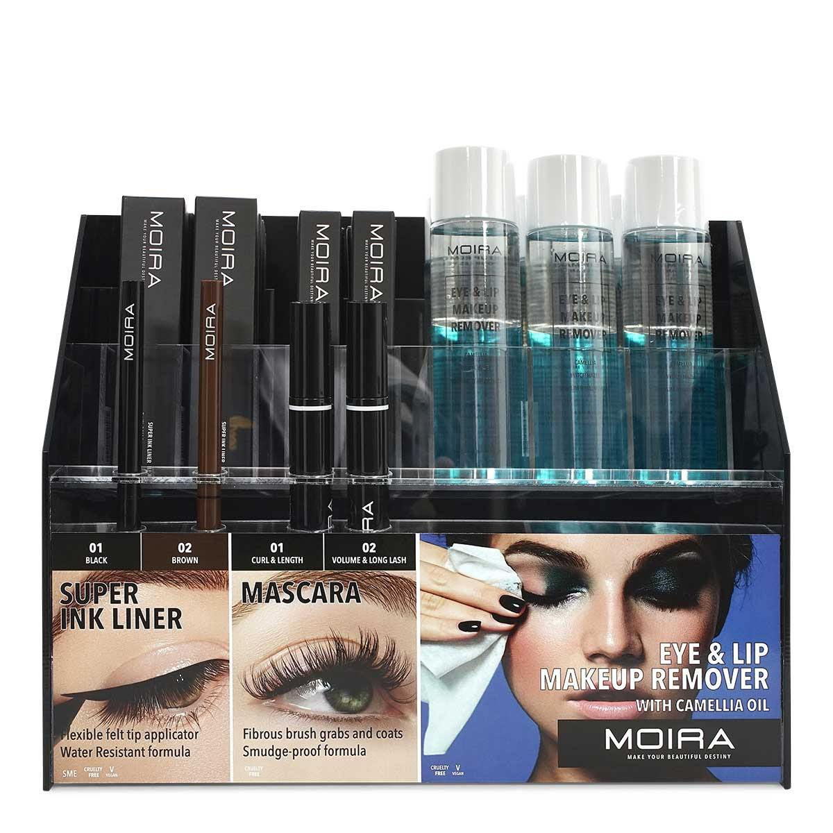 MOIRA COSMETICS EYE DISPLAY (LINER, MASCARA, MAKEUP REMOVER), DISPLAY OF 33, 1 DISPLAY PER CASE, SMIE SET (1/cs)