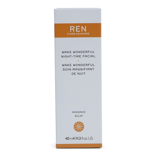 REN Skincare Radiance Wake Wonderful Night-Time Facial - Overgnight exfoliating treatment with AHA's (40 ml / 1.4 fl. Oz.) (3/cs)