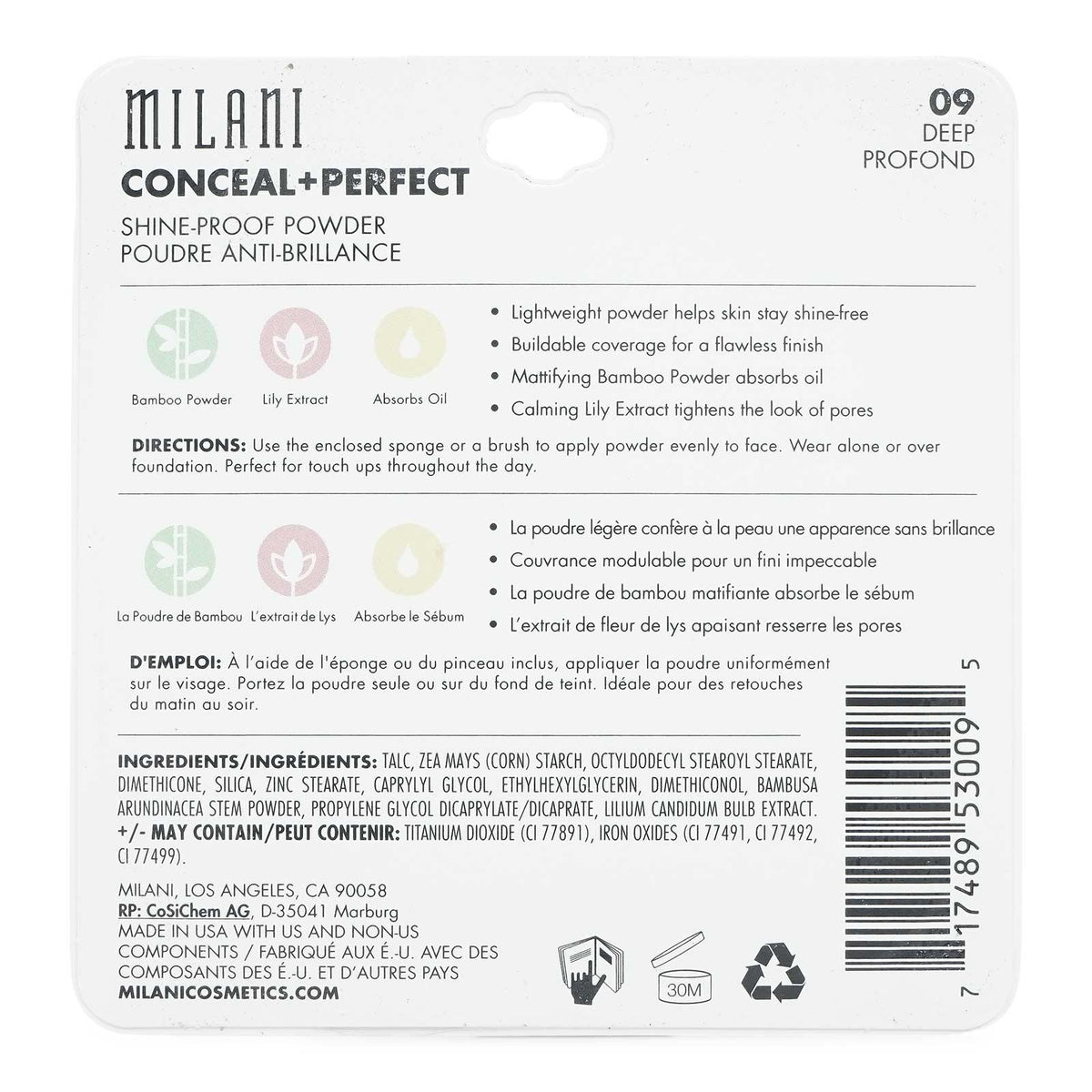 MILANI CONCEAL & PERFECT SHINE PROOF POWDER- DEEP (24/cs)