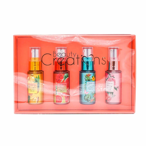 BEAUTY CREATIONS HOLIDAY SET SETTING SPRAY 2- PINEAPPLE, WATERMELON, TROPICAL, PEONY- SPS MINI 2 (6/cs)