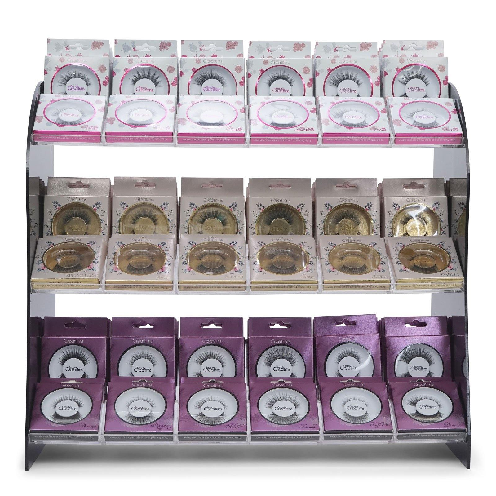 Beauty Creations 3D Silk Eyelash Display, Splash-Floral-Purple (Display of 180) (1/cs)