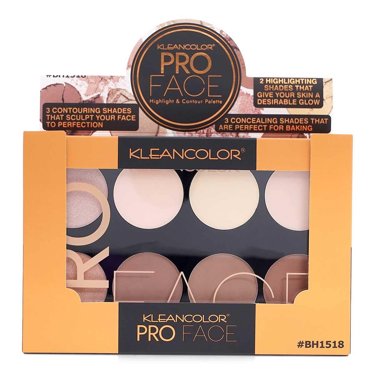KLEANCOLOR Pro Face Slick, Highlight and Contour Palette (BH1518) - Display of 6 units