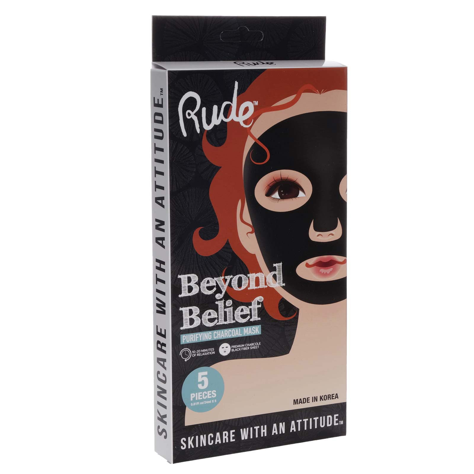 RUDE Cosmetics Beyond Belief Purifying Charcoal Mask 5-pack (12/cs)