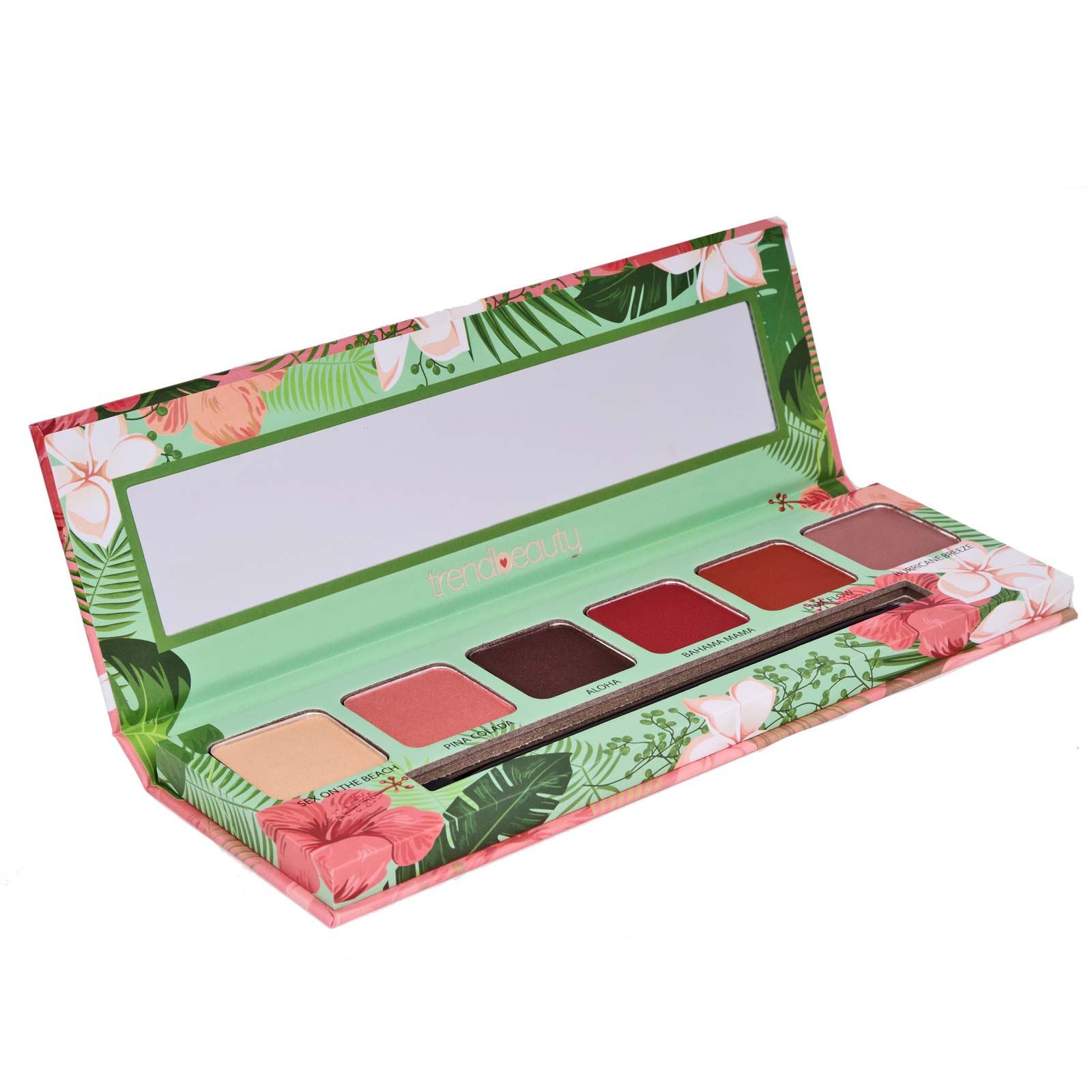 Trend Beauty, TBE6A, Tropical Vibes Eyeshadow  - A mixture of buttery mattes and pigmented shimmers (6/cs)