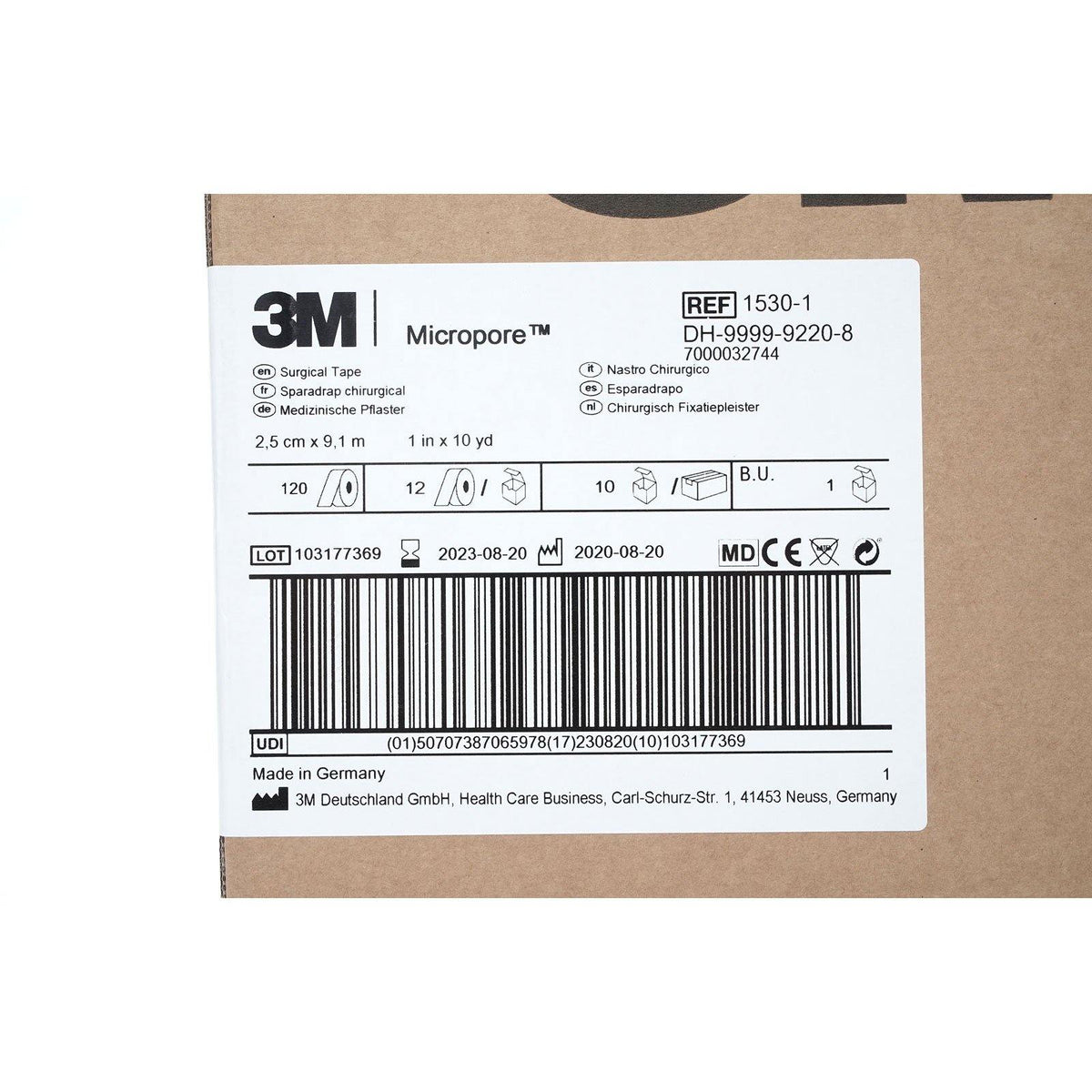 3M Micropore Medical Tape, 1'' x 10 yd (10/cs)