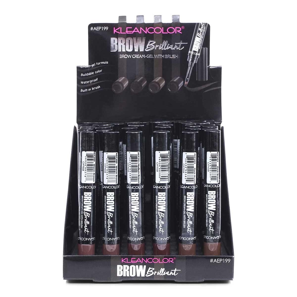 KLEANCOLOR Brow Brilliant Waterproof Cream-Gel with Brush, 3 color (AEP199) - Display of 36 units