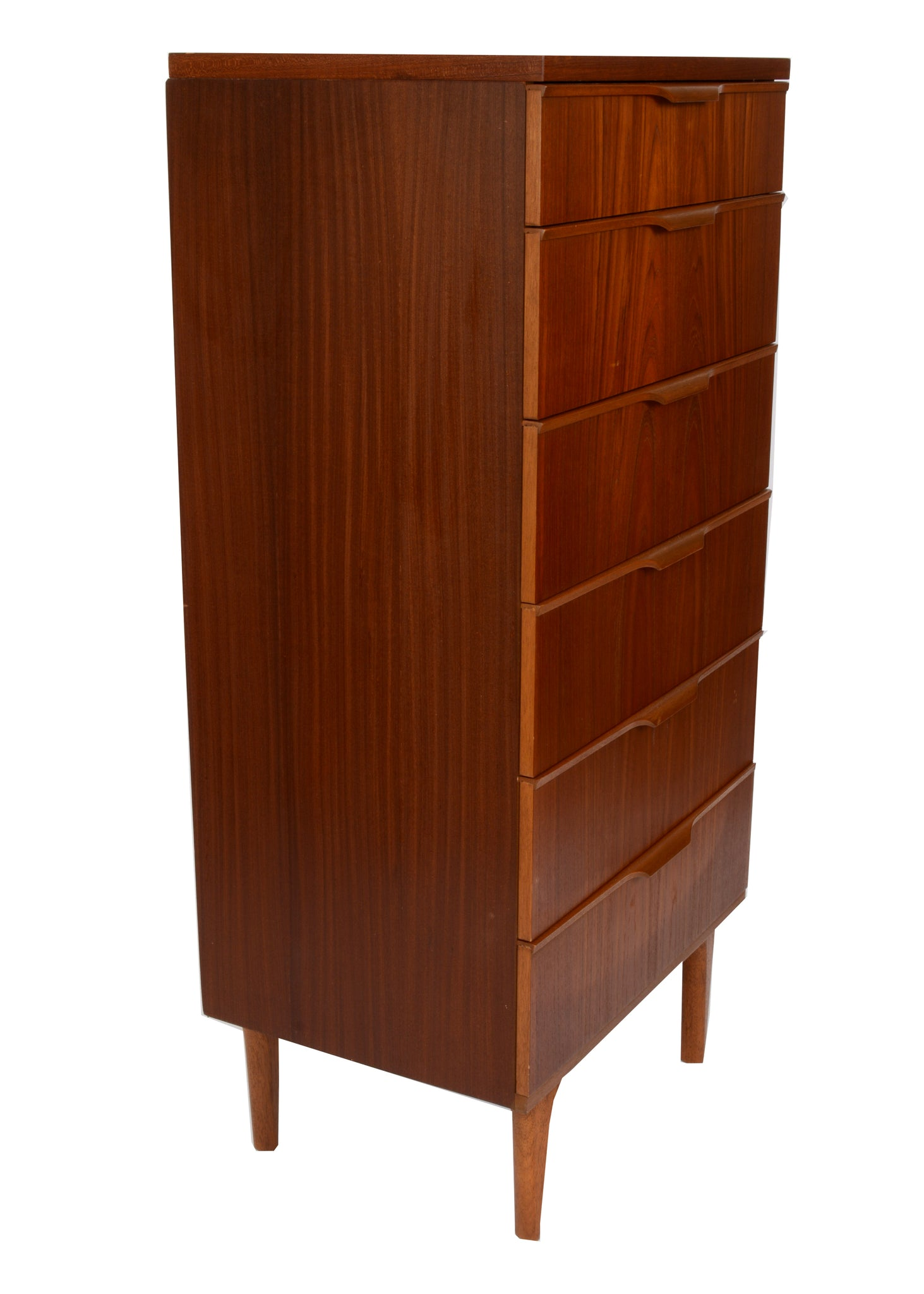mid century teak tall chest of drawers danish
