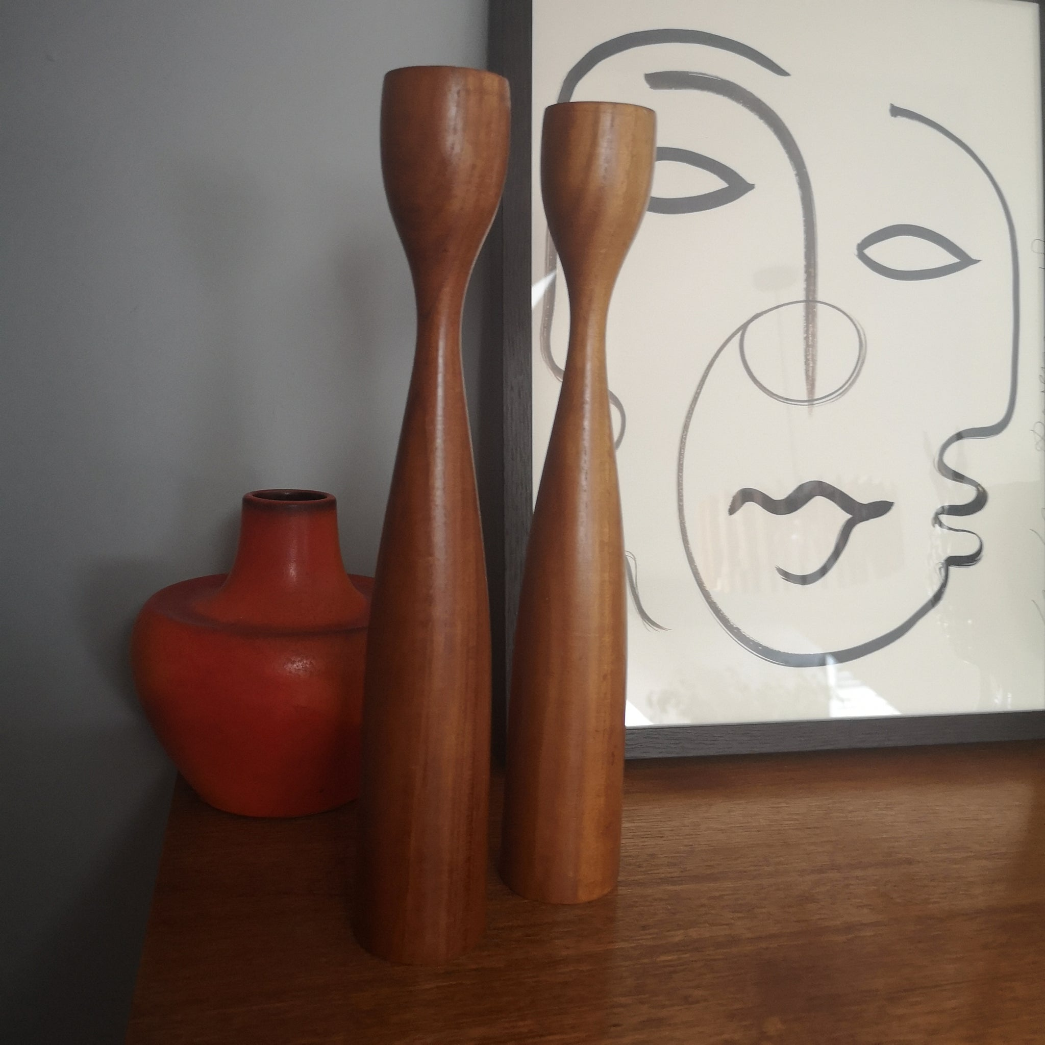 Danish Teak Candkesticks
