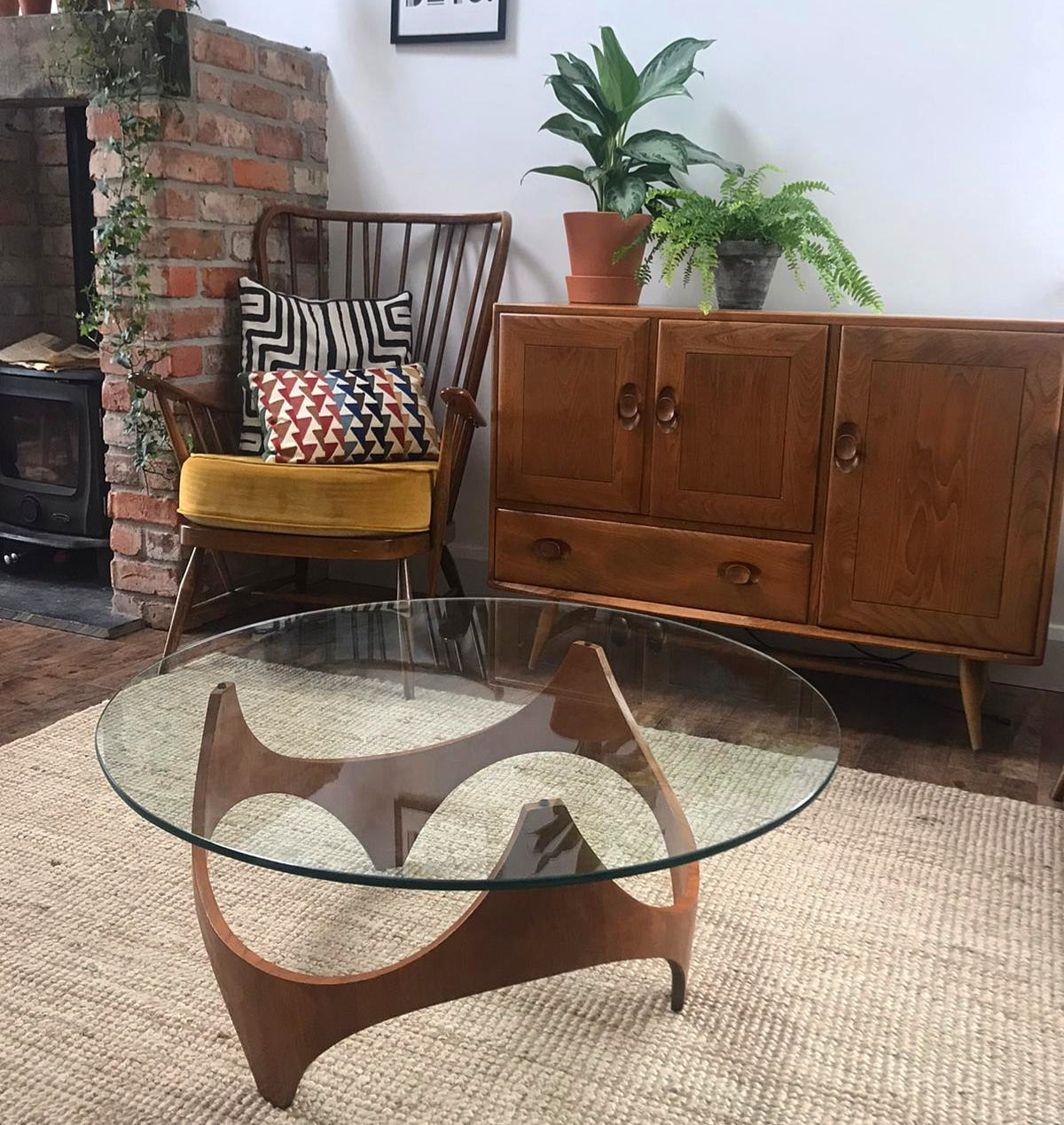 Iconic mid century Henry P glass table