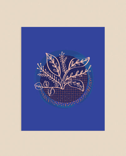 Blue Night Plant Art Print