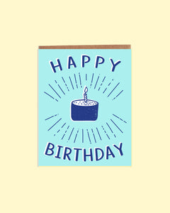 Happy Birthday Blue Cake Card