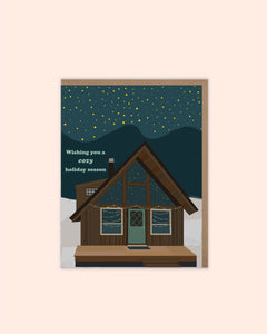 Starry Night Cabin Holiday Card