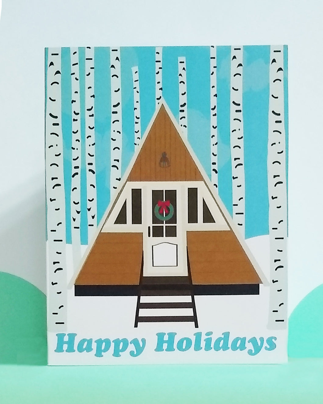Birchwood Forest Cabin Holiday Card