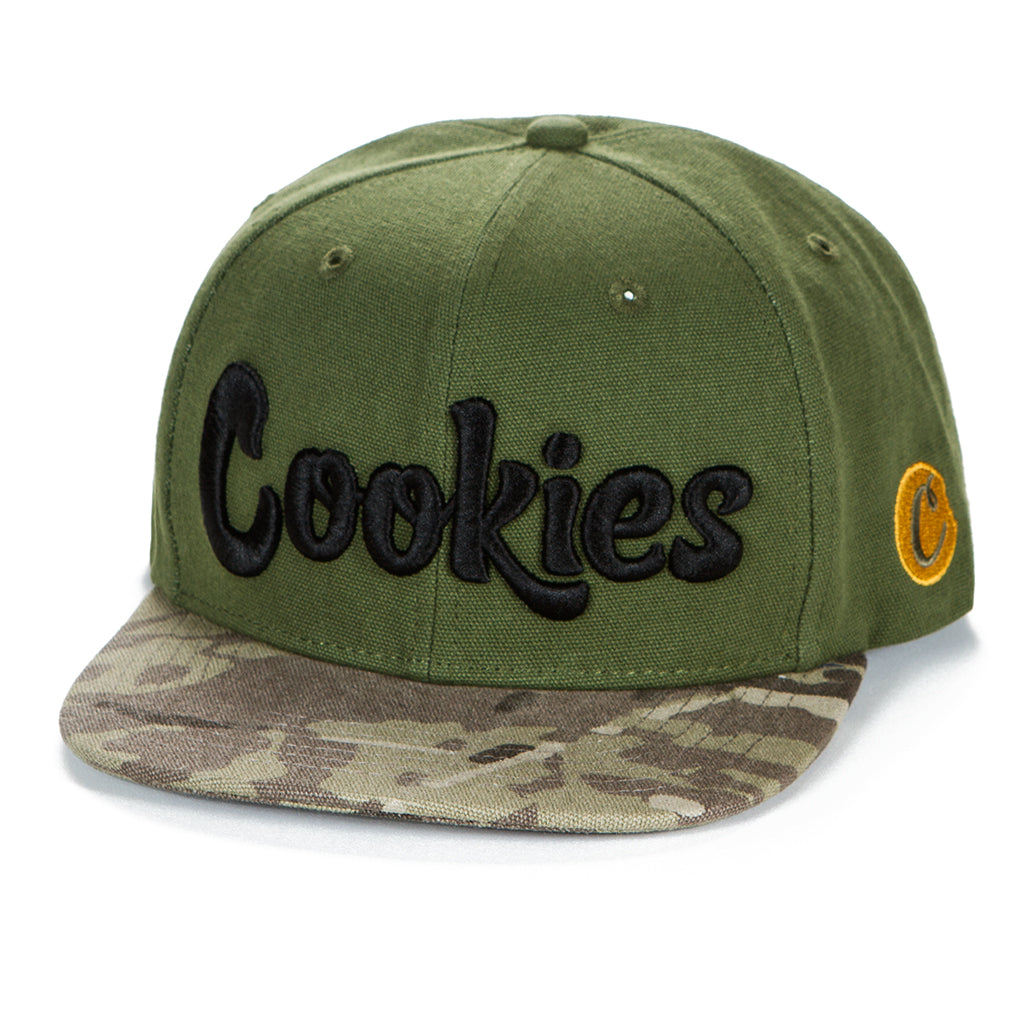 Backcountry Logo Snapback with Camo Bill