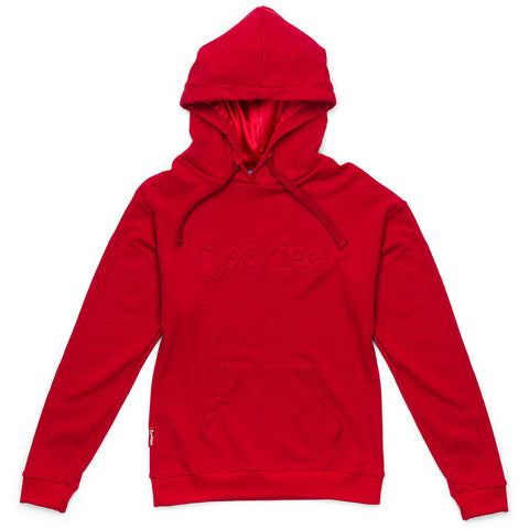 Womens Embossed Thin Mint Hoodie (Red)