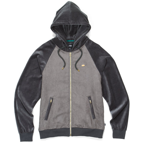 Fifth Ave Suede & Velour Zip Up Hoodie