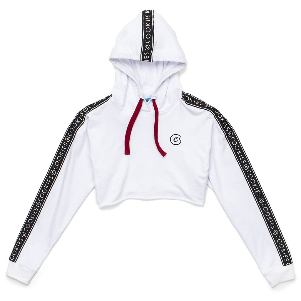 Womens Crop Top Hoodie (White)